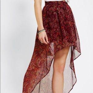 Anthropologie Bohemian Floral Print High Low Skirt